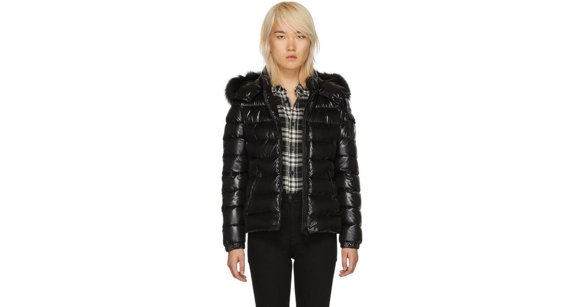b55e3b2be Lyst - Moncler Black Down And Fur Bady Jacket in Black