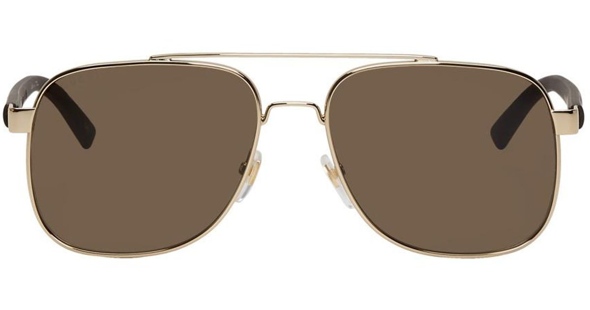 55f5b79d269 Gucci Gold And Grey Caravan Sunglasses for Men - Lyst
