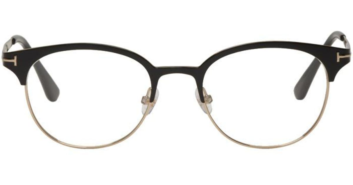 b98b8f4eb5 Tom Ford Black   Gold Titanium Round Glasses in Black for Men - Lyst