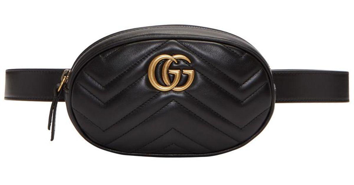 3c6a9de1907 Lyst - Sac-ceinture noir GG Marmont 2.0 Gucci en coloris Noir