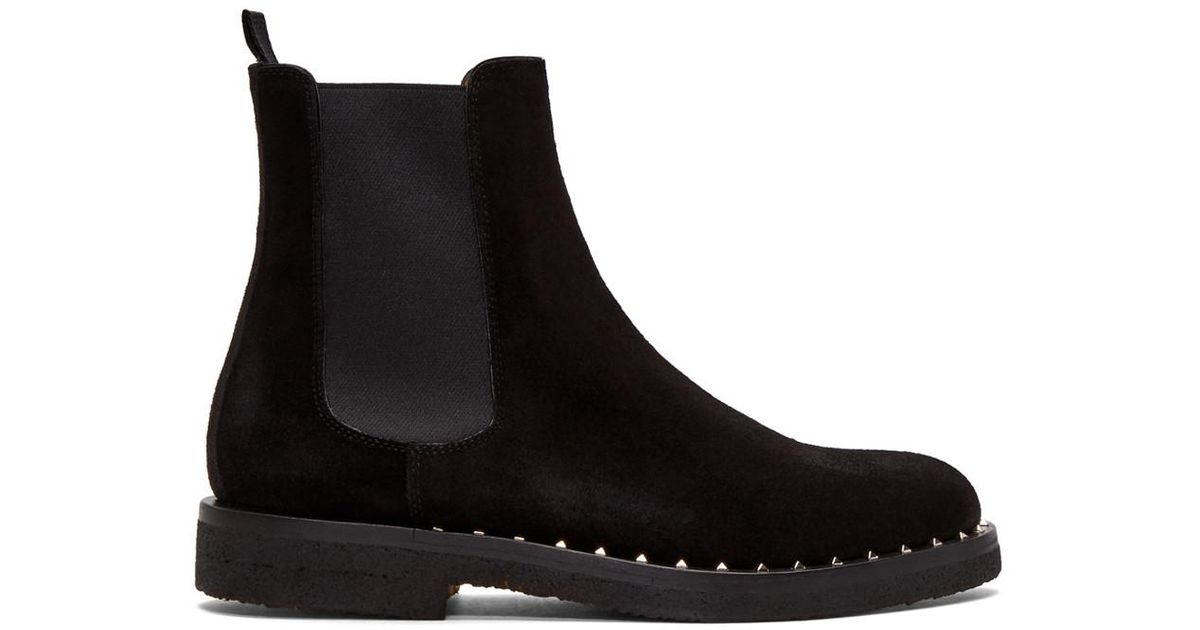 Lyst - Valentino Black Garavani Suede Soul Rockstud Chelsea Boots in Black 2000c714788
