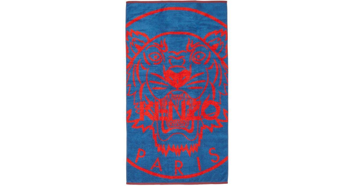 2b118d71bf Serviette de plage bleue et rouge Tiger KENZO pour homme en coloris Bleu -  Lyst