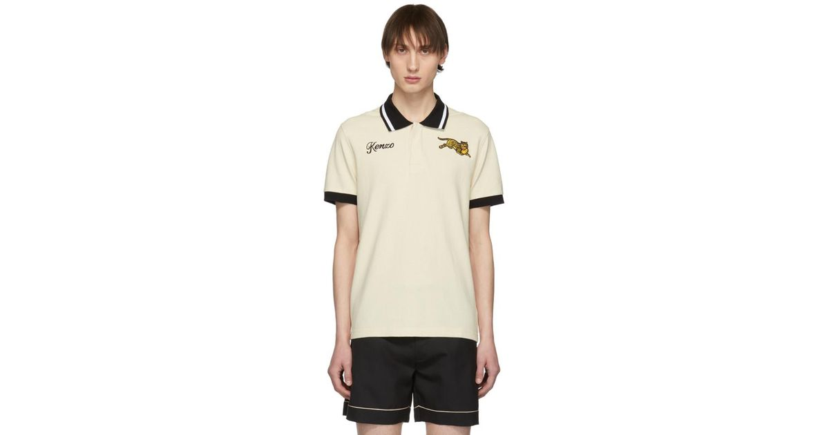 b7b3a40d Lyst - KENZO Beige Jumping Tiger Fitted Polo in Natural for Men - Save 3%