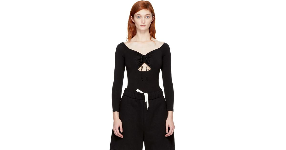a18269346a4c4 Lyst - T By Alexander Wang Black Lace-up Off-the-shoulder Bodysuit in Black