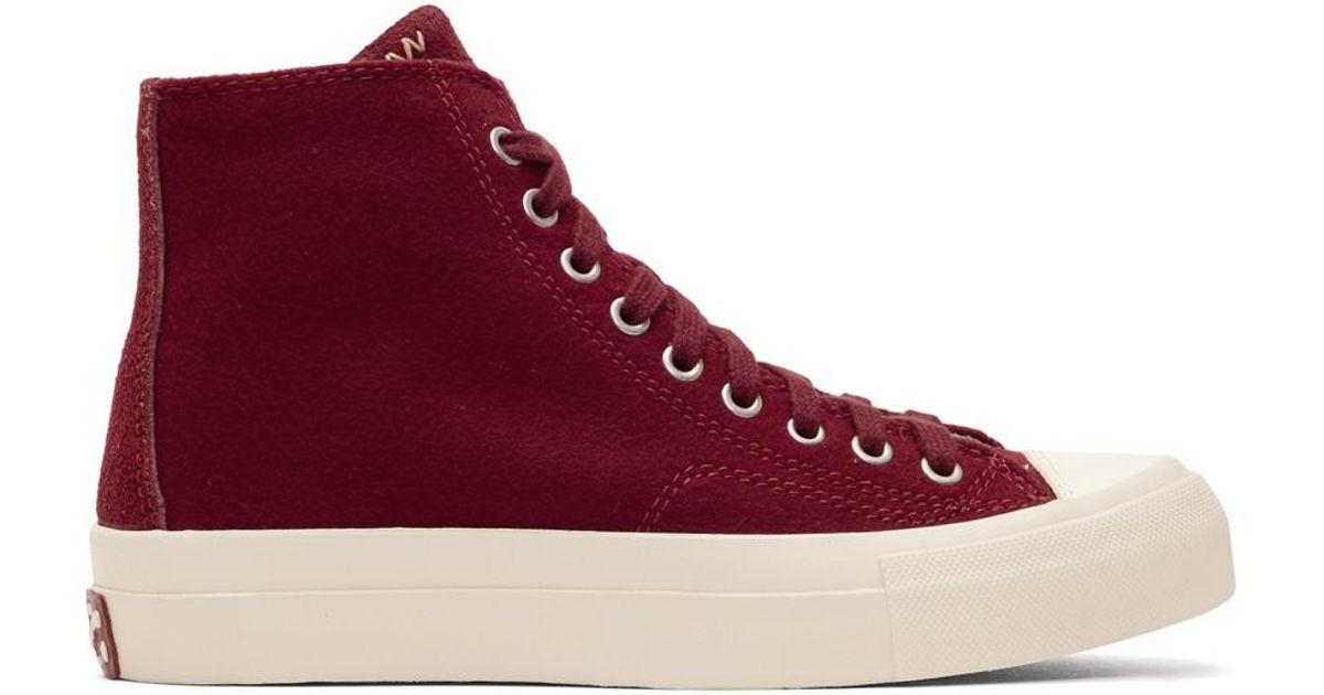 VISVIM Burgundy Skagway High-Top Sneakers wJAgOOvM