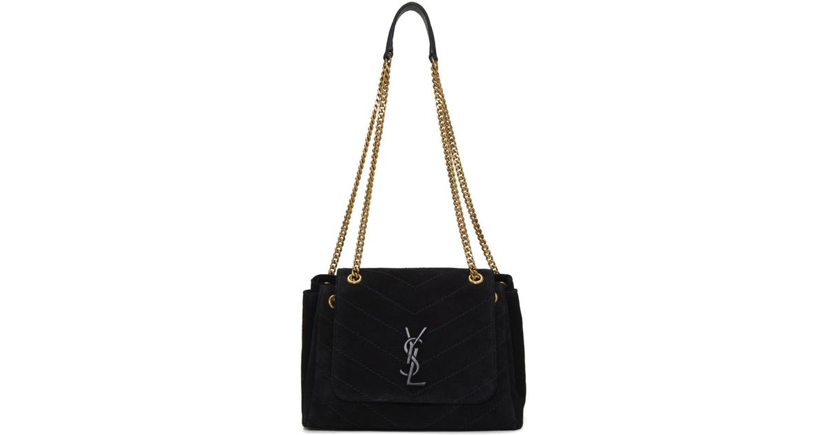 52f27fba45d1 Saint Laurent Black Small Suede Nolita Bag in Black - Lyst