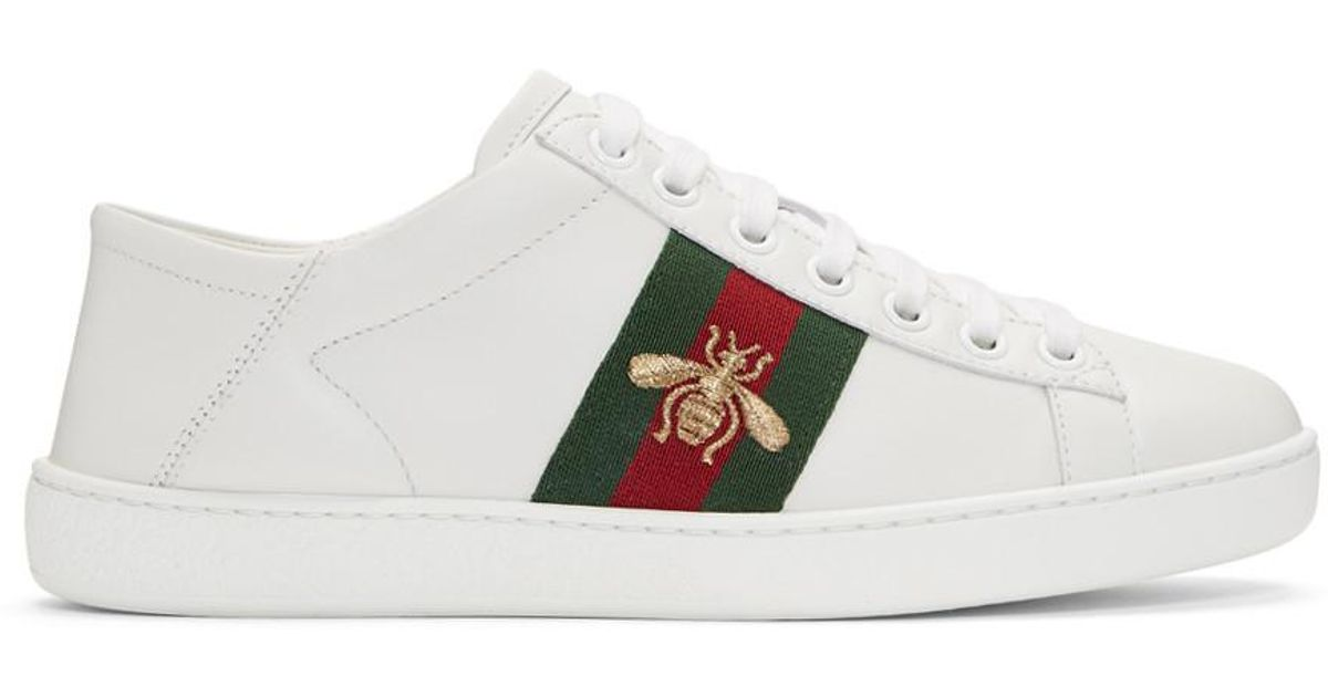 e5cce16e718 Gucci White Ace Leather Sneakers in White - Lyst