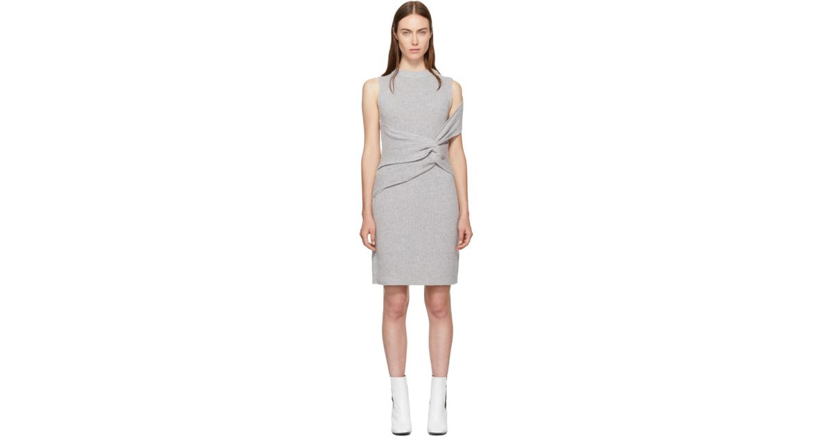 Grey Draped Ribbed Twist Dress 3.1 Phillip Lim Wide Range Of Online Sale Reliable Cheap Sale Low Shipping Fee Best Buy Hurry Up A1F2UWe