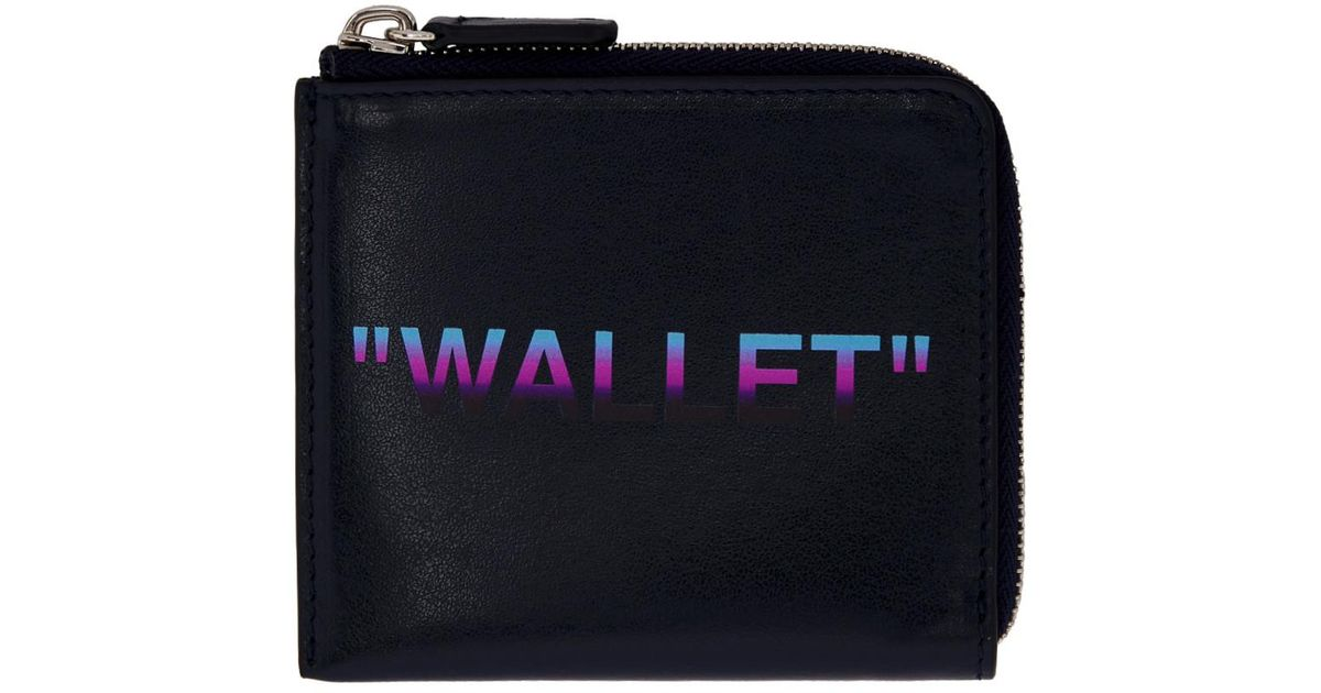 ab4f72645f8f Lyst - Off-White c o Virgil Abloh Blue Quote Zip Wallet in Blue