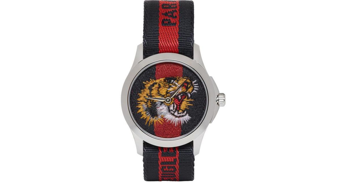 9e09a6c20e1 Lyst - Gucci Silver   Navy  l aveugle Par Amour  Tiger Watch in Metallic for  Men