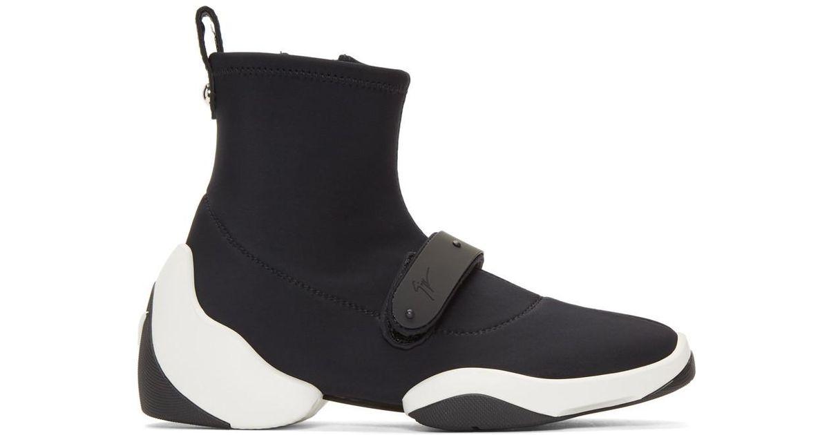 Giuseppe Zanotti Black Carlito Stretch High-Top Sneakers 2PpYNxJ