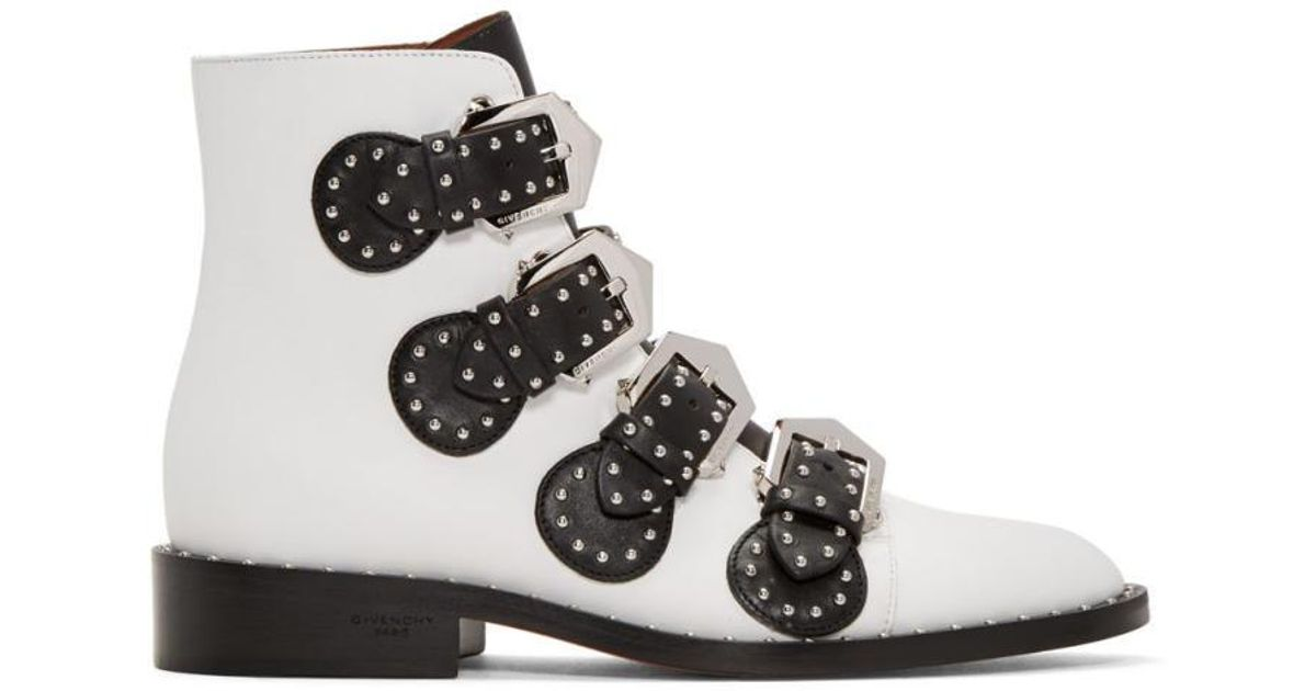 Lyst - Givenchy White Studded Elegant Boots in White be2f67aa4eb5