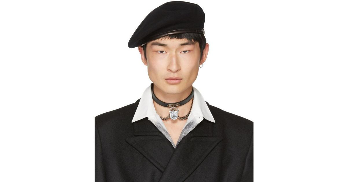 Lyst - Alexander McQueen Black Wool Beret in Black for Men e5ca83d5c6f