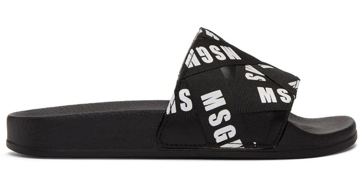 3aa10a4be056 MSGM Black Logo Ribbons Pool Slides in Black - Lyst