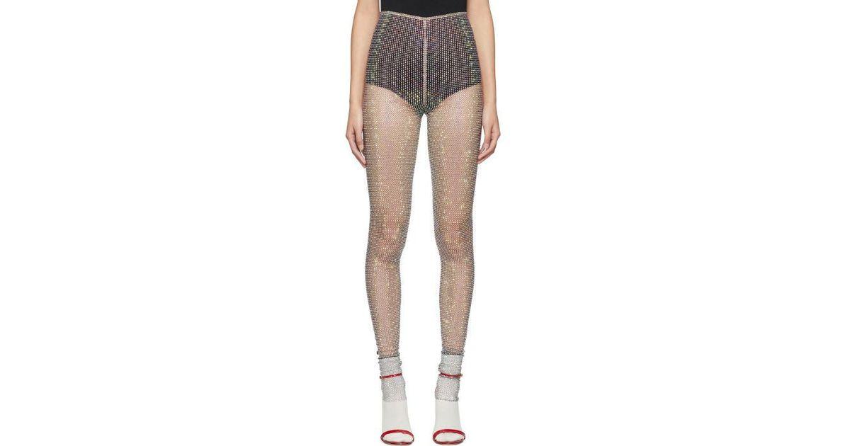 ae785881b29 Gucci Black Crystal And Mesh Aurora Leggings in Black - Lyst