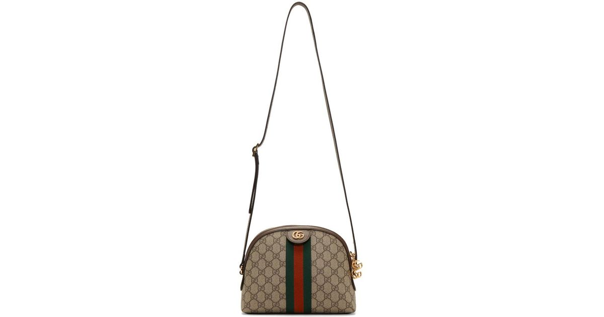 b04a289ccd53 Gucci Brown Small GG Supreme Ophidia Bag in Brown - Lyst