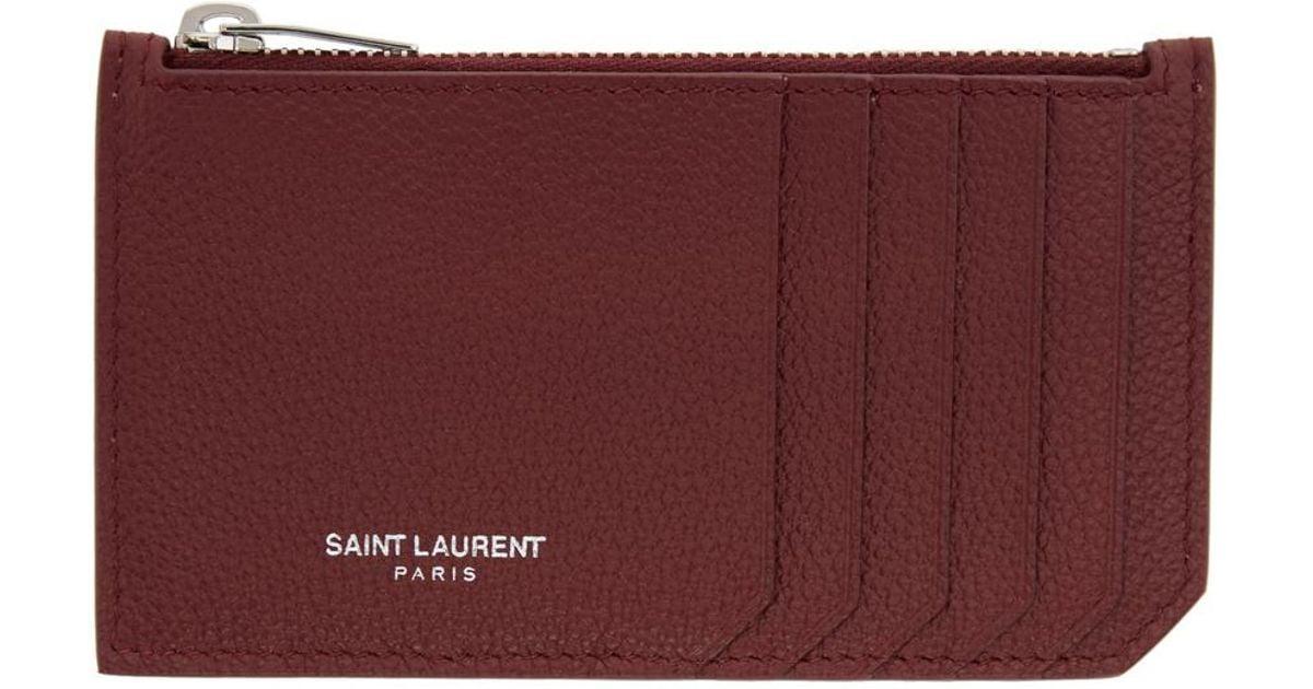 a6cc3e352f0 Saint Laurent Burgundy 5 Fragments Zip Card Holder - Lyst