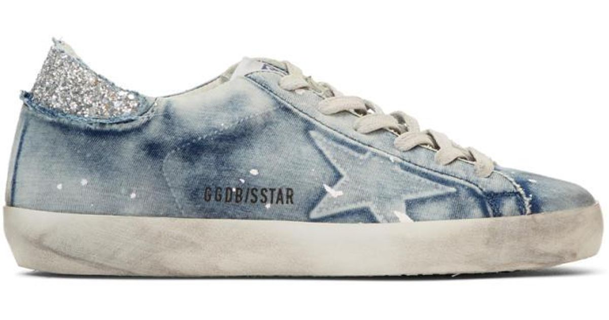 2444a28023e1d Golden Goose Deluxe Brand Blue Bleached Superstar Sneakers in Blue - Lyst