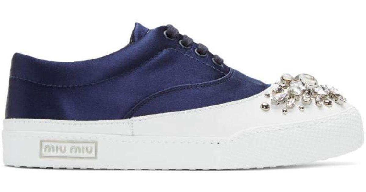 best loved 5aae0 145e1 miu-miu--Ssense-Exclusive-Navy-Satin-And-Crystal-Sneakers.jpeg