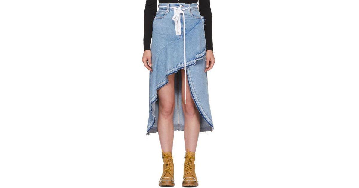 7e98886d01 Off-White c/o Virgil Abloh Blue Asymmetric Denim Skirt in Blue - Lyst