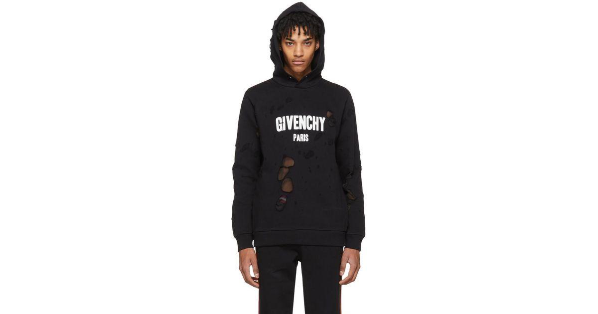 0393e11dcac Lyst - Pull a capuche a logo et effet use noir Givenchy pour homme en  coloris Noir