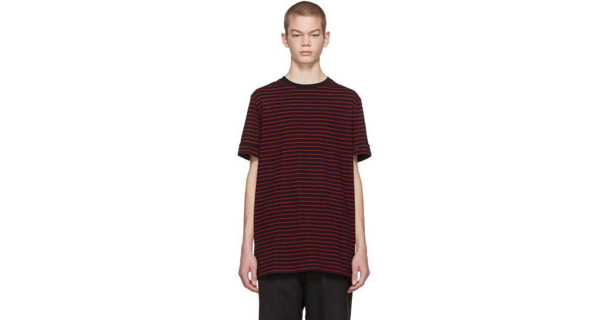 ad962faf4e4 neil-barrett-black-Black-And-Red-Striped-Roll-Up-Sleeve-T-shirt.jpeg