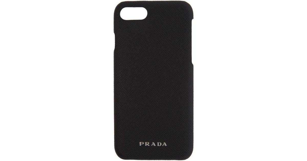 2e60b848455f Prada Black Saffiano Iphone 7 Case in Black - Lyst
