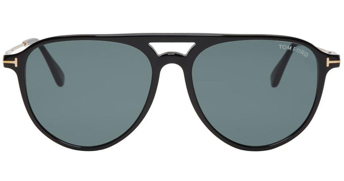 da8d86601872 Lyst - Tom Ford Black And Gold Carlo-02 Sunglasses in Black for Men