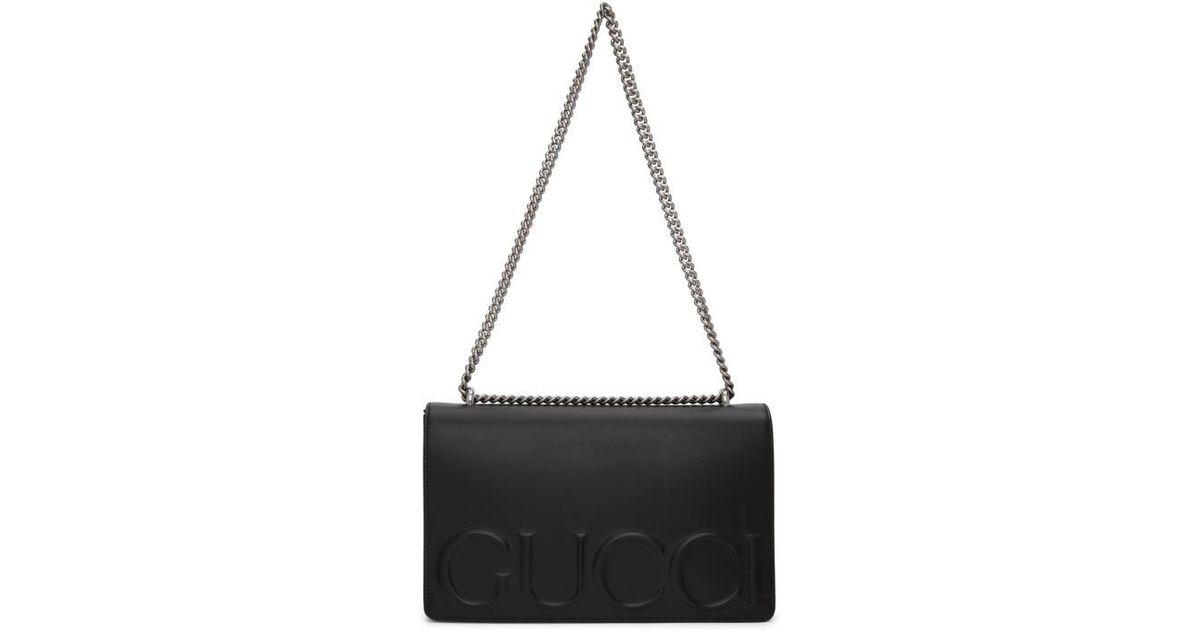 b72ff8b8abb Gucci Black Xl Embossed Chain Strap Bag in Black - Lyst