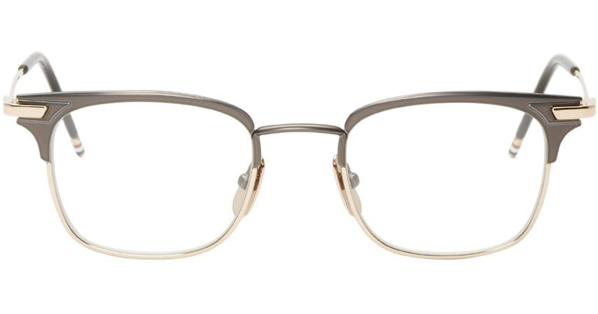 d536c0591f6 Lyst - Thom Browne Gunmetal   Gold Square Tb-102 Glasses in Black for Men