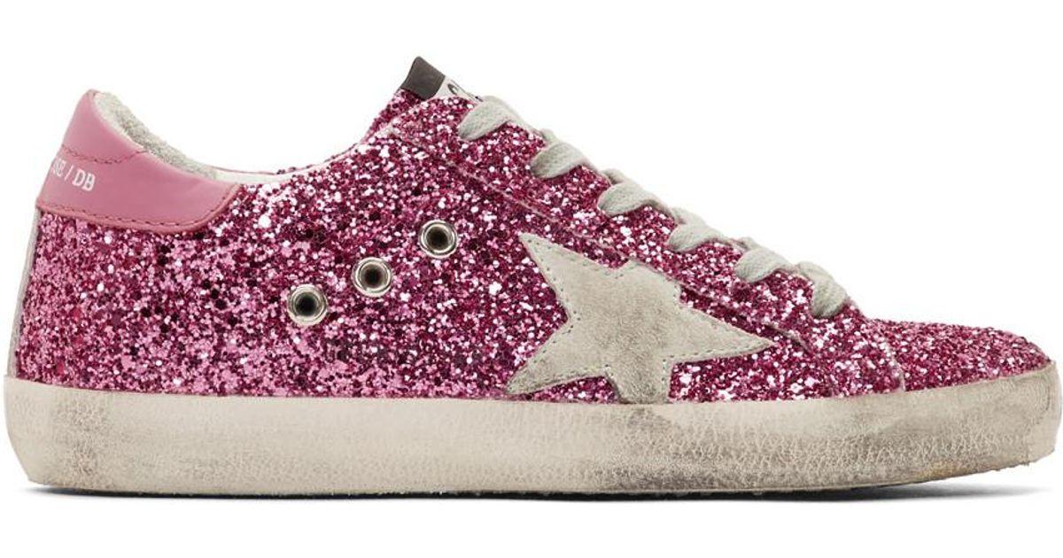 52d7daa4ed2f Golden Goose Deluxe Brand Pink Glitter Superstar Sneakers in Pink - Lyst