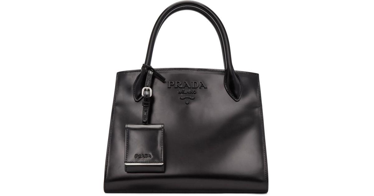 Lyst - Prada Black Paradigm Tote in Black 0aeec09160e4