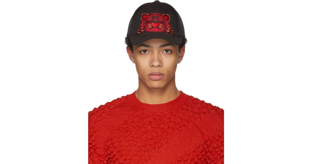 0bd8b4a6574 Lyst - KENZO Black Neoprene Chinese New Year Tiger Cap in Black for Men