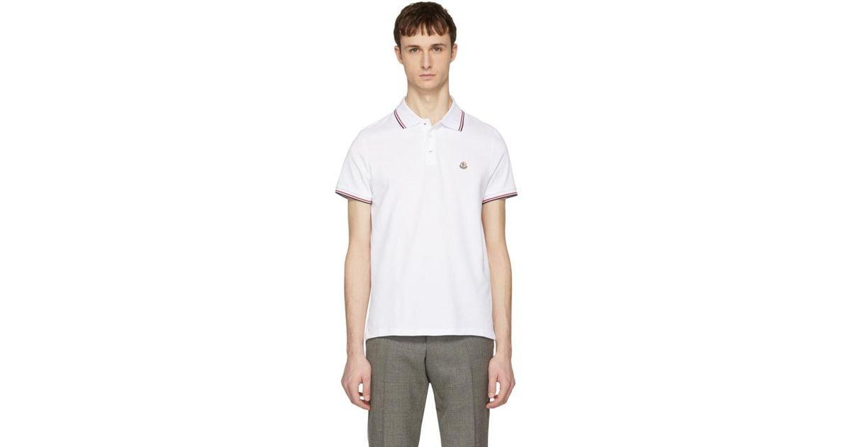 Lyst - Polo a logo blanc Moncler pour homme en coloris Blanc a5be8e996c0