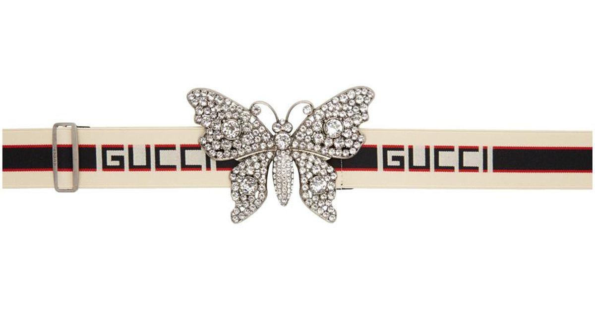 916b94598bf Gucci Ecru Large Crystal Butterfly Elastic Belt - Lyst