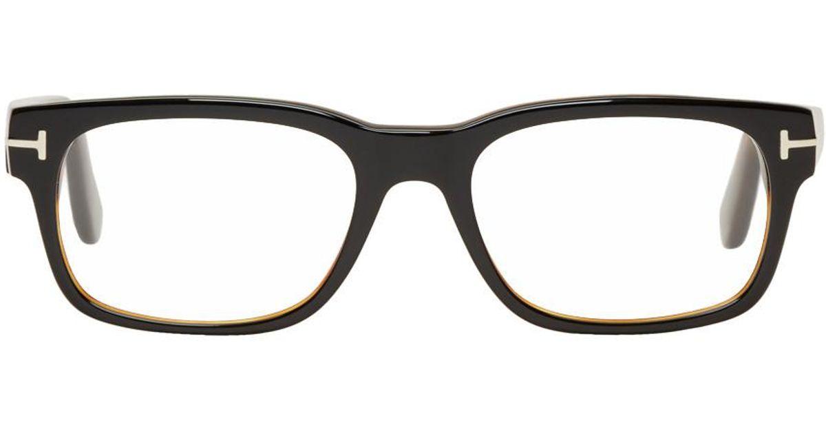 4ad91b23dee Lyst - Tom Ford Black   Tortoiseshell Square Glasses in Black for Men