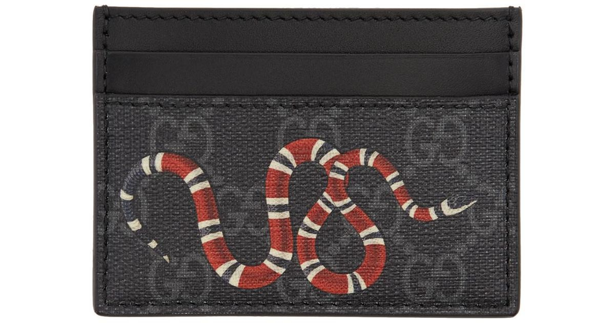 32e3a6c1878c Gucci Grey And Black Snake GG Supreme Card Holder in Black for Men - Lyst