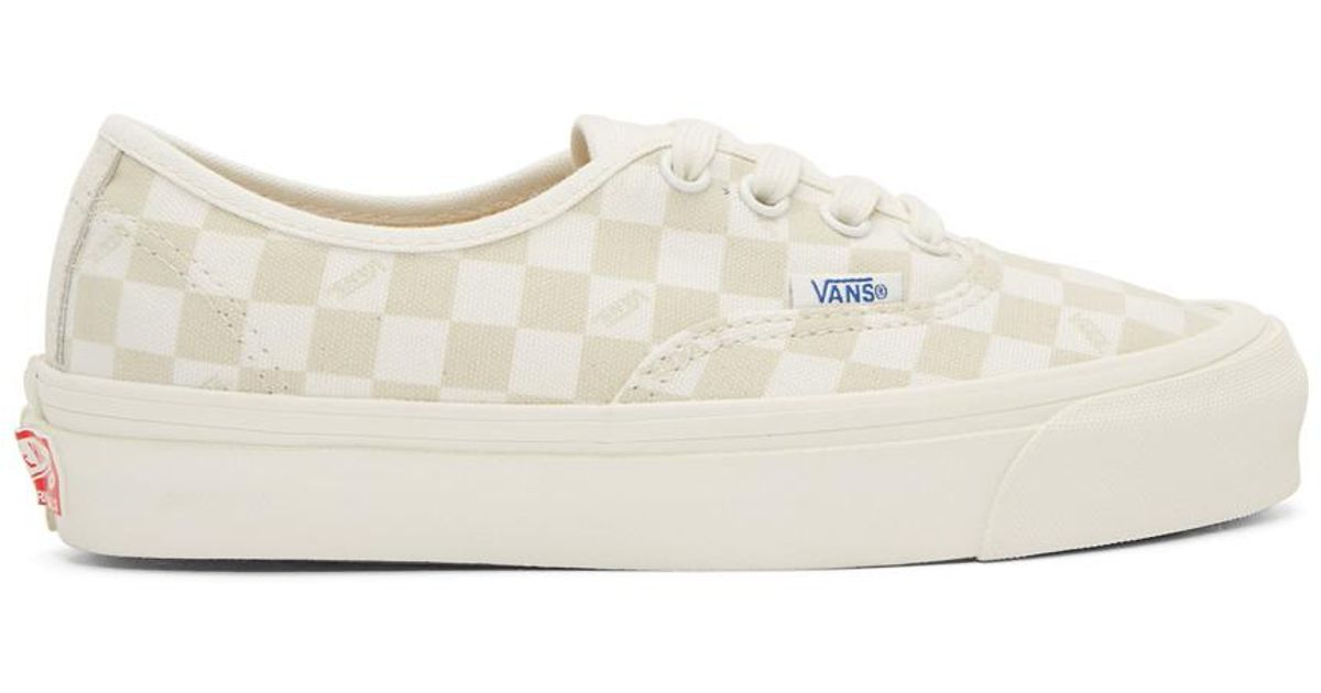 Lyst - Vans Beige And Off-white Checkerboard Og Authentic Sneakers in White 146a4bd76