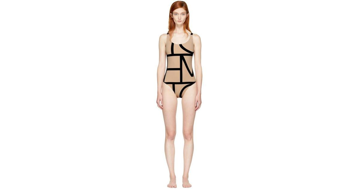 9e39f5e331cd2 Totême Beige Positano Swimsuit in Natural - Lyst