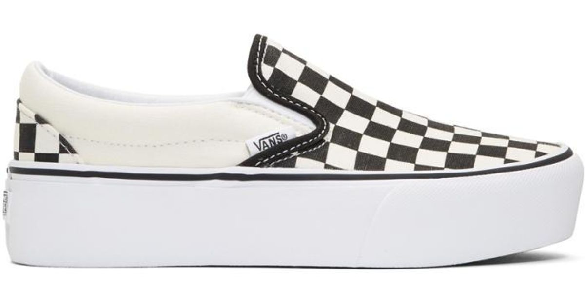 999a555f141 Vans Black   Off-white Checkerboard Classic Platform Slip-on Sneakers in  Black - Lyst