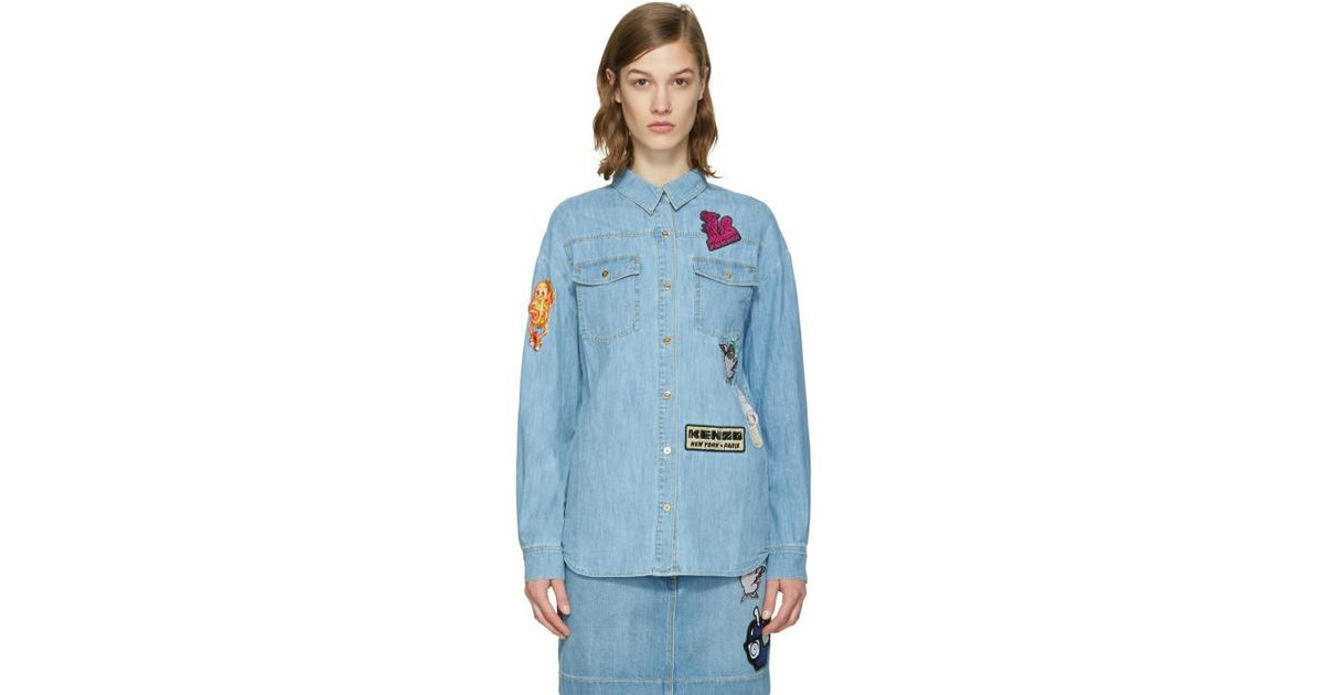 50bd6db5 KENZO Blue Denim Cartoon Patches Shirt in Blue - Lyst