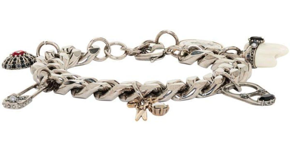 Lyst Alexander Mcqueen Silver Multi Charm Chain Bracelet In Metallic For Men