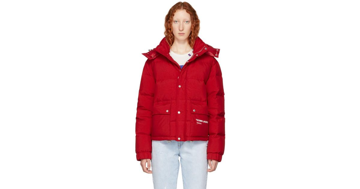 15631c90b0907 Off-White C/O Virgil Abloh Red Down Quote Puffer Jacket in Red - Lyst