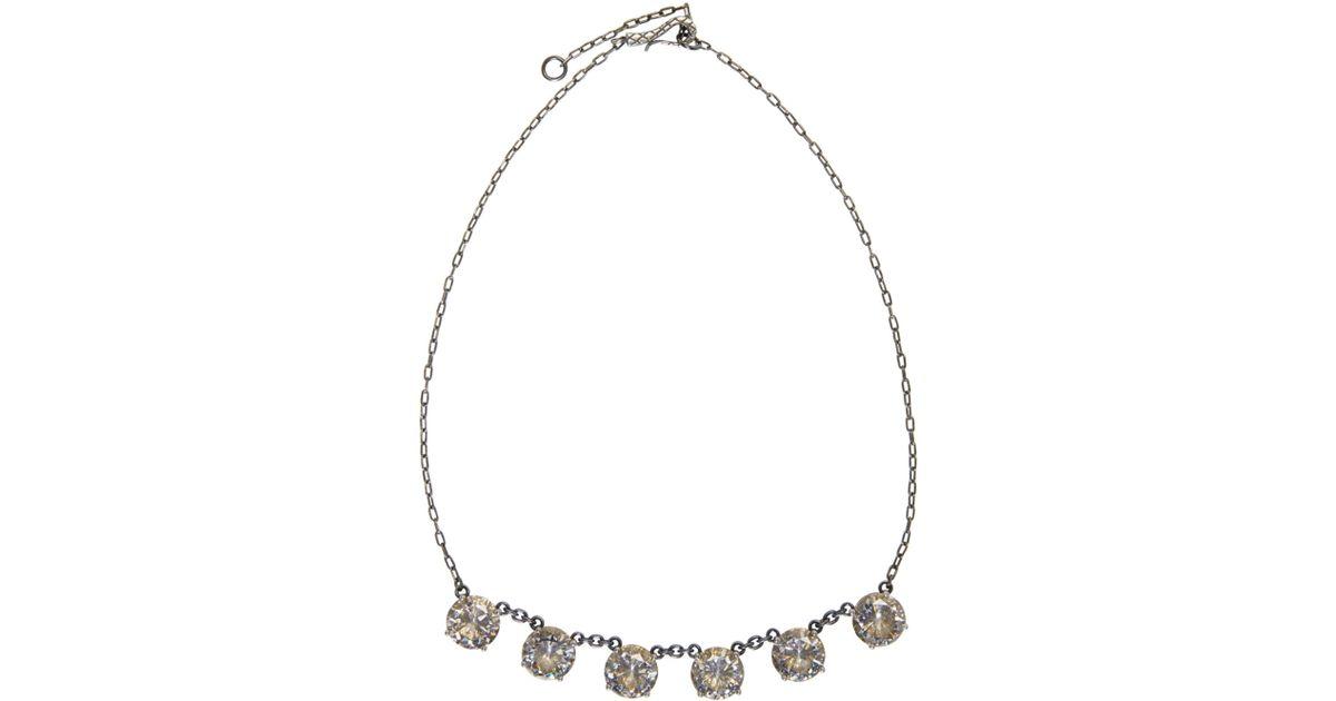 multicolour cubic zirconia oxidized silver necklace - Metallic Bottega Veneta g9d9dH2pU