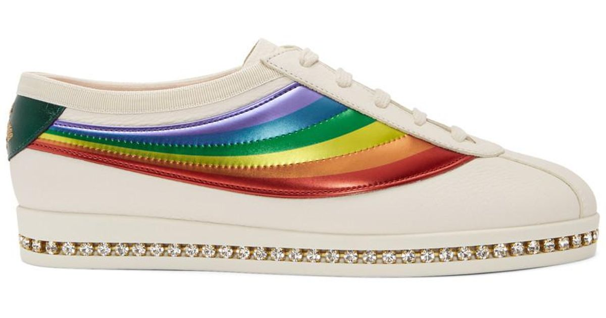 White Crystal Falacer Rainbow Sneakers Gucci X4VB8