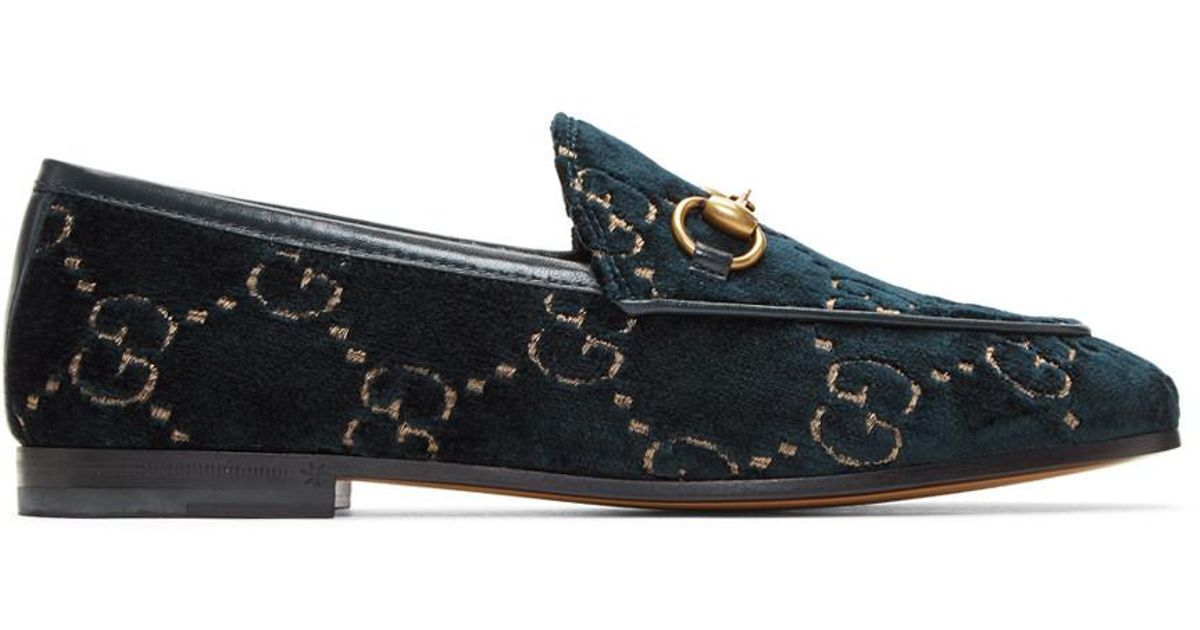 f14cb5a0fd8 Lyst - Gucci Blue Velvet GG New Jordaan Loafers in Blue