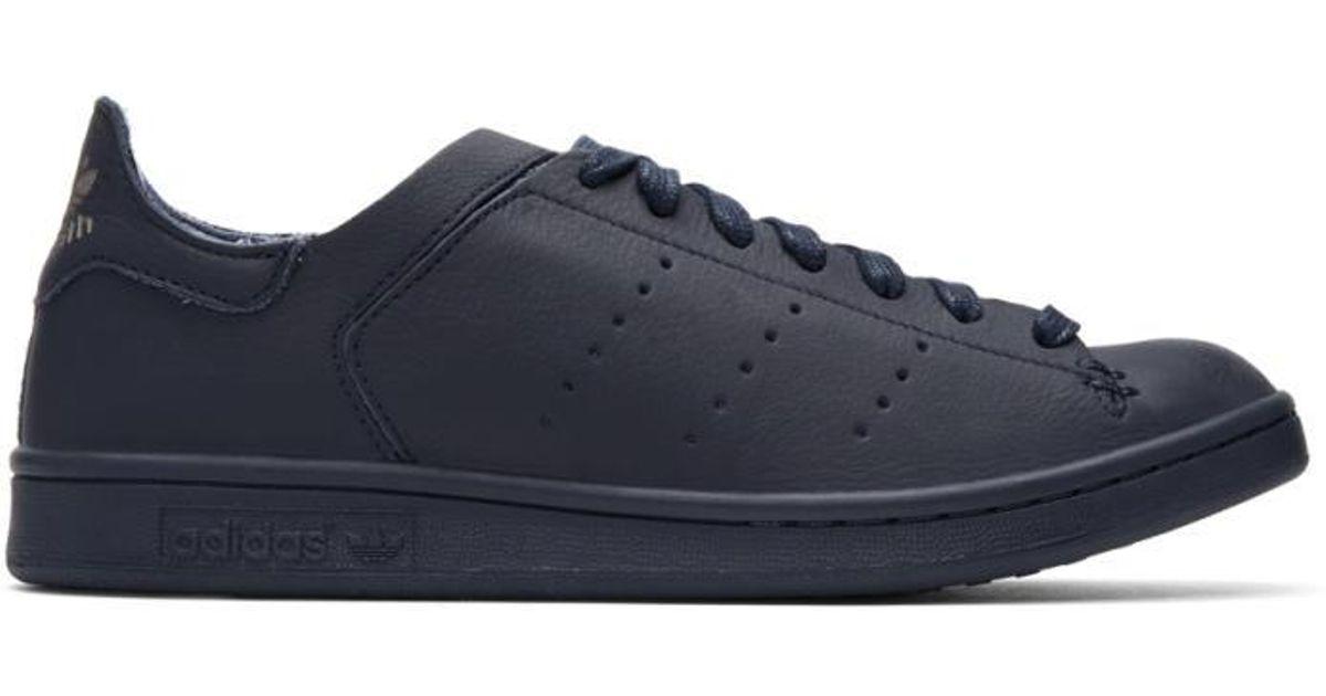 adidas Originals Navy Stan Smith Lea Sock Sneakers in Blue for Men - Lyst f024d150cf82