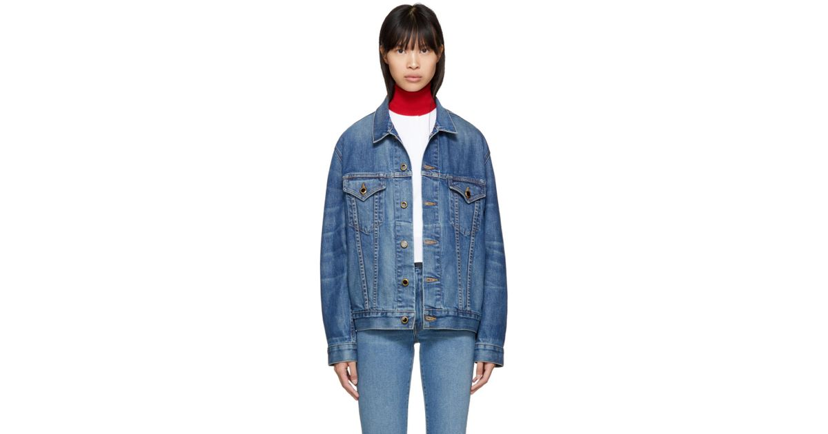 65e60a7c88 Lyst - Khaite Blue Denim Cate Oversized Jacket in Blue - Save 7%