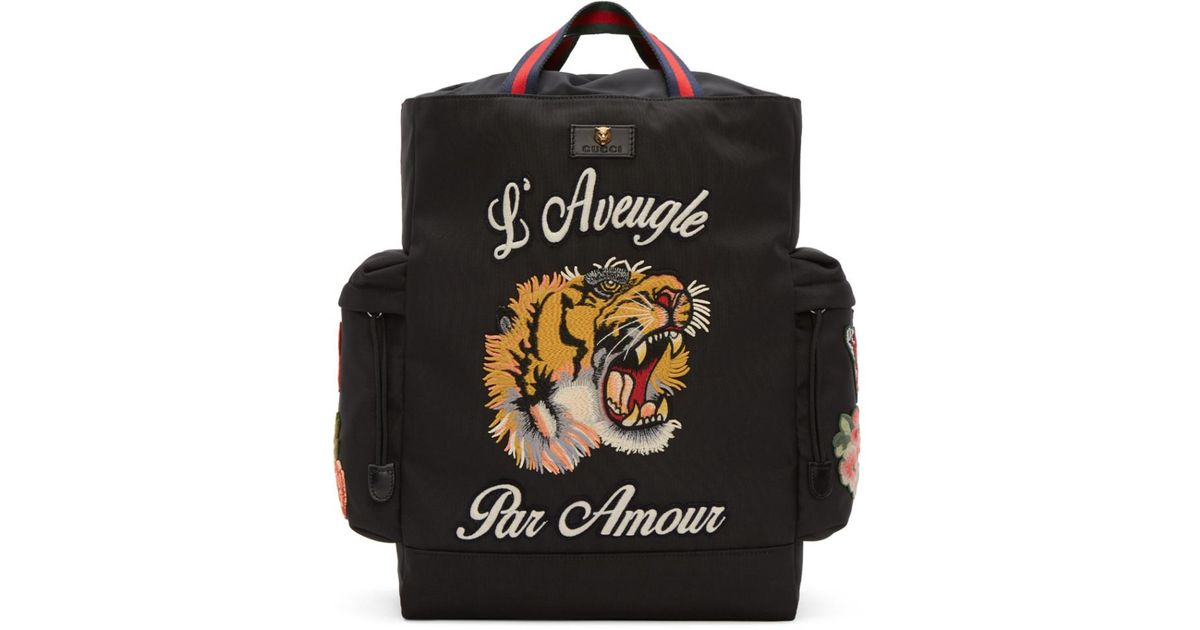 1ab91475f Gucci Black 'l'aveugle Par Amour' Techpack Backpack in Black - Lyst