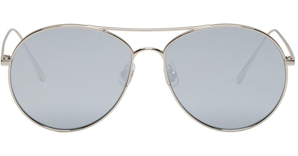 52932582841 Gentle Monster Silver And Grey Ranny Ring Aviator Sunglasses in Gray - Lyst